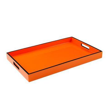 Orange with Black Trim Lacquer Breakfast Tray