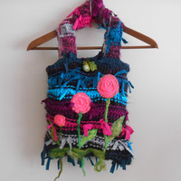 Recycle Bag, Applique Bag, Flower Bag, Women's Handbags, Accessories Bags, Hand Made Bags, Mesh Bags