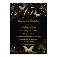 Sparkle Gold & Black Butterfly Quinceanera Invite