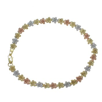 """14K YELLOW WHITE ROSE TRICOLOR GOLD HAWAIIAN PLUMERIA FLOWER ANKLET 5.5MM 10"""""""