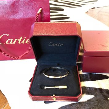Cartier Sm YG Diamond Love Bracelet size 17