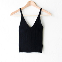Knit Ribbed V-neck Crop Tank Top - Black