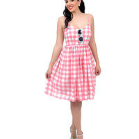 Pink & White Gingham Spaghetti Strap Sweetheart Swing Dress