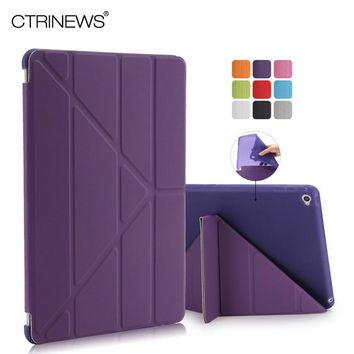 CTRINEWS Cover for Apple iPad Air 2 Smart Leather Case Multi Shape Folding Auto Wake Up Sleep Case for iPad Air 2 TPU Back Cover