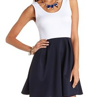 COLOR BLOCK PLEATED SKATER DRESS