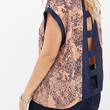 FOREVER 21 PLUS Cutout Lace Print Top Peach/Navy
