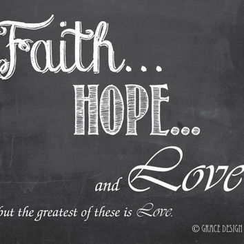 Inspirational Chalk Art - Faith Hope & Love - Printable