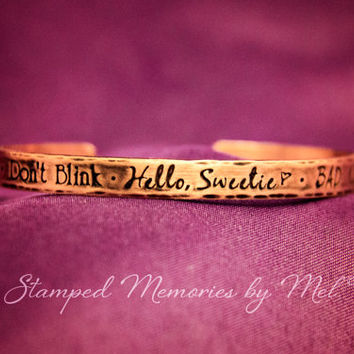 Dr. Who Quotes - Fangirl Aluminum Cuff Bracelet - Hand Stamped Jewelry - Don't Blink - Hello Sweetie - Bad Wolf - The Doctor - Companion