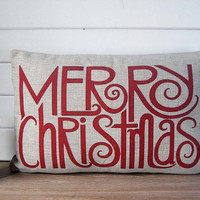 Red Christmas lumbar pillow - red linen pillow with Merry Christmas - Merry Christmas pillow case - christmas gift