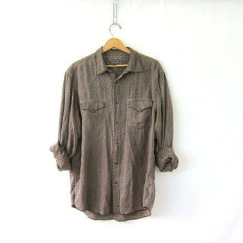 20% OFF SALE Vintage western shirt with pearl snaps. button up shirt. brown cotton + silk shirt