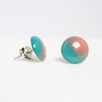 Light Blue and Pink Earrings, Cotton Candy Earrings, Resin Jewelry, Hypoallergenic Jewelry, Gifts for Her