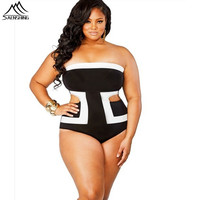 Summer Swimwear Plus Size Bathing Suits For Women White Black Sexy One Piece Swim Suits High Waist Triathlon Plus Size Swimsuit