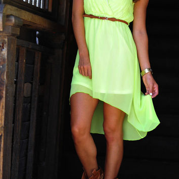 Dixie Girl High-Low Dress: Neon Lime | Hope's