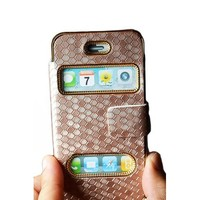 TOOGOO Gold Luxurious Synthetic Leather Magnetic Flip Case Cover Protector Skin for iPhone 4/4S
