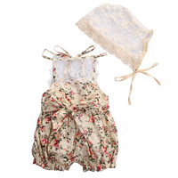 Fashion Baby Girls Clothes Sets Newborn Baby Girl Lace Floral Romper + Hat Summer Cute Outfits Sets Sunsuits for Girls