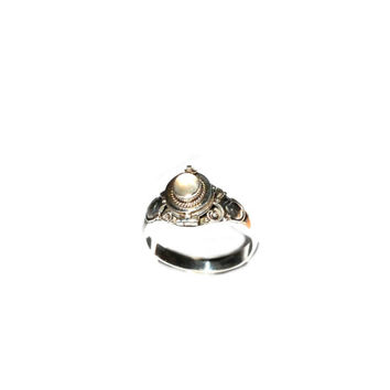 Moonstone Sterling Silver Poison/Locket Ring (Keepsake Ring) - Moonstone Gemstone Ring - 925 Sterling Silver Ring - Bohemian Statement Ring