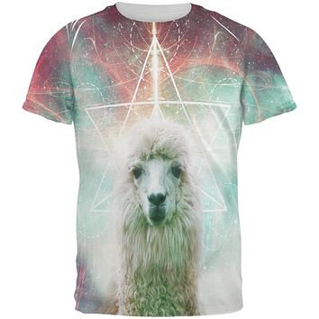 Galaxy Llama of Namaste Tetrahedron All Over Mens T Shirt