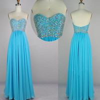 Strapless Sweetheart Beading Chiffon Blue Prom Dress Party Dress from prom 2013