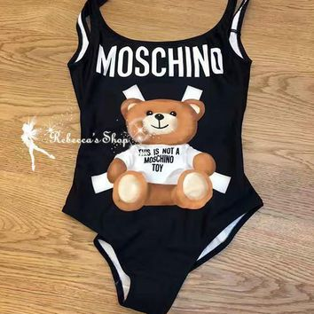 One-nice™ Moschino Cute Bear Prints Halter One Piece Swimsuit Bikini