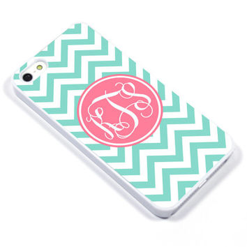 Personalised iPhone Case iPhone 5 iPhone 5s iPhone 5C iphone 4 Samsung Galaxy S3 S4 - Monogram Chevron pink Mint - p08