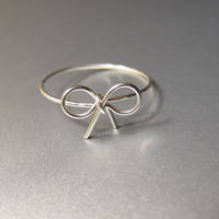 Sterling Silver Bow Ring, Sterling Silver Wire Bow Ring, Silver Bow Ring, Bow Ring, Dainty Ring,  Valentine's Day Gift