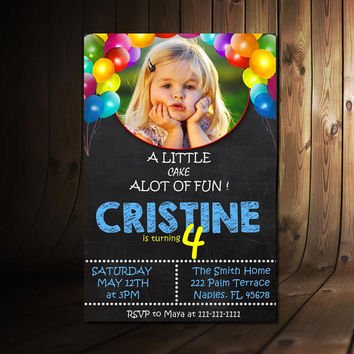 0011 PRINTABLE Chalkboard Four Birthday Invitation with Picture - 4th Birthday Invitation - Girls Boys Birthday Party 4x6 Design