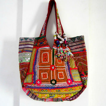 Ethnic Indian Gypsy Designer  Banjara Bag Patchwork Bag, Tribal Bag, Emboidered  Bag, Ethnic Boho, Tote Antique Bags Hobo Bag wedding bag