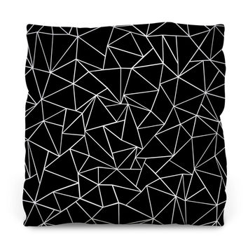 Ab Outlines Black Throw Pillow