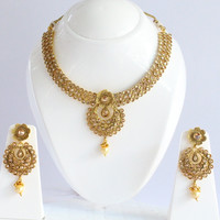 Gold Polki Necklace Set/South Indian Wedding Necklace/Bollywood Kundan Necklace