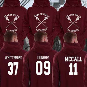 Hoodie Teen Wolf Beacon Hills Maroon Stilinski 24, Mahealani 06, Mccall 11, Lahey 14,Dunbar 09,Whittemore 37 Unisex Size Made in by USA