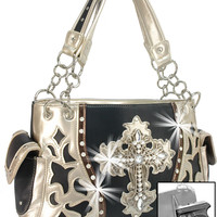 * Rhinestone Cross Concealed Carry Layered Western Handbag In Black-Champagne