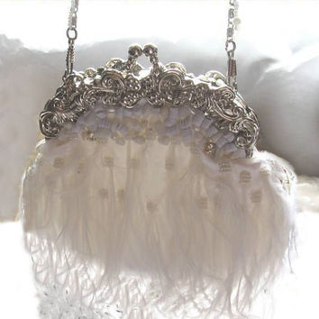 FLAPPER - HOLLYWOOD 1930s GLAMOUR  White Ostrich Feather Handbag Bag Purse - Black-Ivory-White-Red