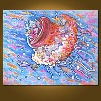 Jellyfish Explosion -- 22 x 28 inch Original Oil Painting by Elizabeth Graf -- Perfect for KIDS ROOM or marine, tropical decor