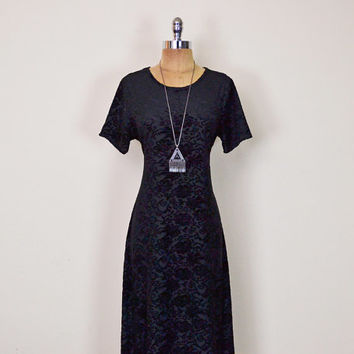Vintage 90s Black Burnout Velvet Dress Black Velvet Burnout Dress Velvet Maxi Dress 90s Dress 90s Grunge Dress Goth Dress Gypsy Dress M L