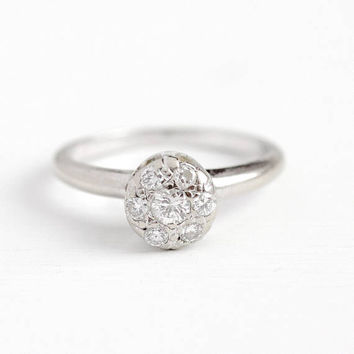 Vintage Diamond Ring - 14k White Gold .30 CT Brilliant & Old European Cut Halo Jewelry - Size 7 1/2 Bridal Engagement Fine Apprasial Cluster