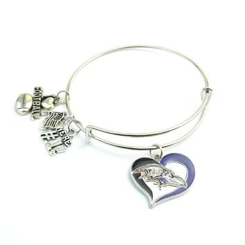 New Arrivals Baltimore Ravens Football Expandable Bangle For Fans Bangles Bracelets Jewelry With Number 1 Charm