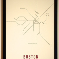 Boston Typographic Transit Map Poster