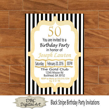 Black stripe glitter birthday invitation, birthday invitations, stripe party invitation, gold birthday party invitation, 50th birthday party