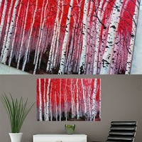 Red Forest Wood Tree Painting On Canvas Fine Art Size 71 x 32 Inch 002