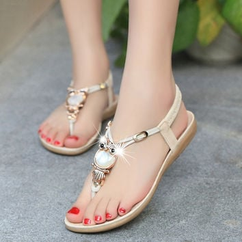 Strappy Flat Slingback Beach Shoes Casual Owl Slipper