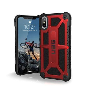 CREYRQ5 UAG iPhone X Monarch Feather-Light Rugged [CRIMSON] Military Drop Tested iPhone Case