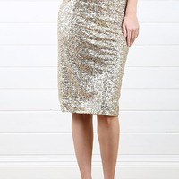 Gold Sparkly Sequin Pencil Skirt