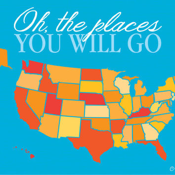 Baby Room Decor, oh the places you will go, Nursery Wall Art, Primary color Map Nursery Decor, Baby Shower gift, Gender Neutral Decor