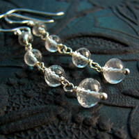 Rock Crystal Dangle Earrings - Long Crystal Earrings - Sterling Silver