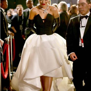 Celebrity Dresses 2017 Rita Ora V Neck Short Front Long Back Open Back Evening Dress Black And White