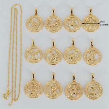 ac PEAPO2Q Anniyo (12pcs/lot)Twelve Constellations Necklaces for Women/Girl Silver/Gold Color Twelve Horoscope Star Sign Jewelry #037704