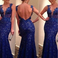 Sexy mermaid lace prom dress royal blue formal evening dress V-neck backless  Homecoming Dresses Pageant Dresses Graduation gown