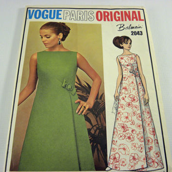 Vogue Sewing Pattern Paris Original Balmain 2043 1960's womens evening dress, Un-cut
