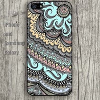 Mandala pattern lighting blue iphone 6 6 plus iPhone 5 5S 5C case Samsung S3,S4,S5 case Ipod Silicone plastic Phone cover Waterproof