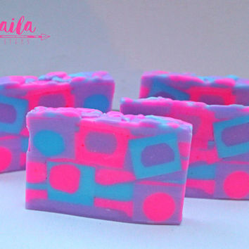 cotton candy soap, bar soap, decorative soaps, novelty soap, artisan soap, handmade soap, girls soap, girls birthday favors, pink, purple